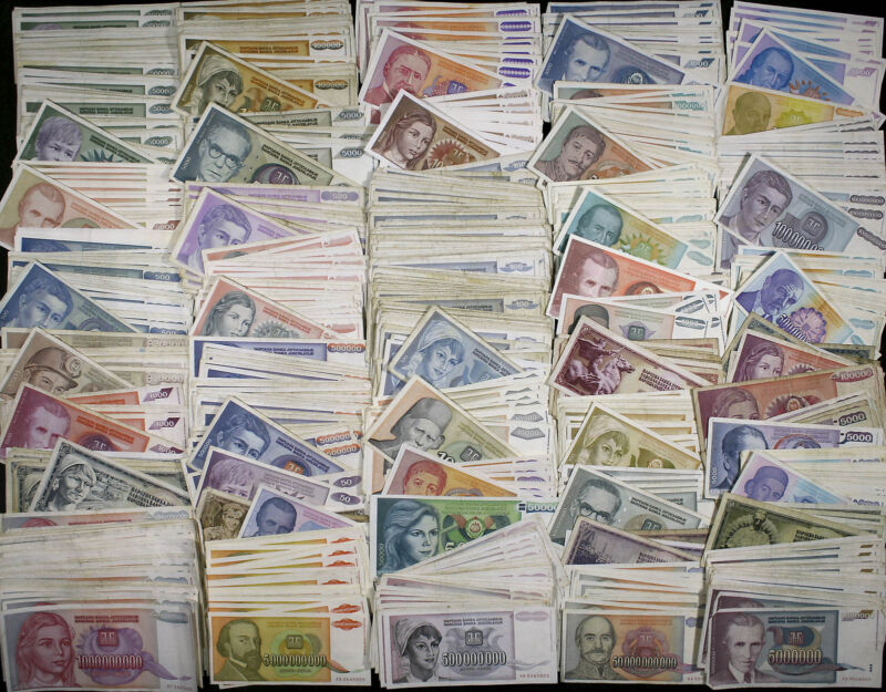 Yugoslavia LOT 1000+ Banknotes Dinara 40+ different HYPERINFLATION 70s-90s VG-XF