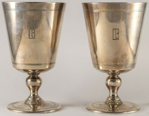 Tiffany & Co. Maker Sterling Silver Goblets  PAIR Dated 1927
