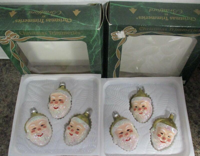 LOT 2 Boxes Vintage Bradford Hand Decorated Glass Santa Ornaments Christmas
