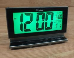 Genuine Elgin Digital Alarm Clock 2 LCD Large Display Alarm Clock Only **READ**