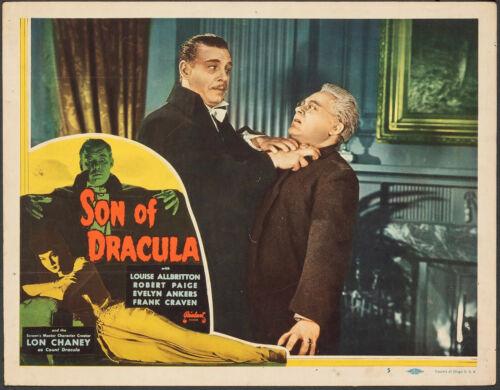 SON OF DRACULA Lobby Card #5 Lon Chaney chokes Bromberg. Universal Horror