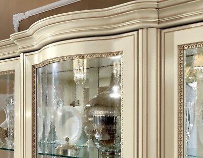 Italienische Möbel Holz (Vitrine Wohnzimmerschrank Beige Massivholz Klassische Italienische Stil Möbel)