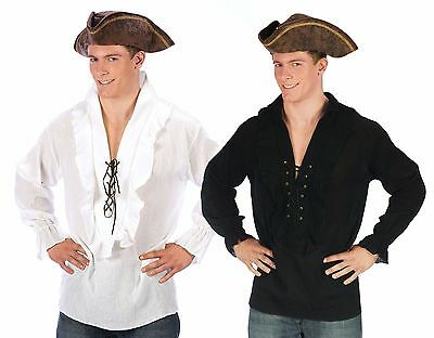 Mens Pirate Shirt Swashbuckler Caribbean Pirates Frilly Lace-Up Adult Costume - Mens Pirate Shirts