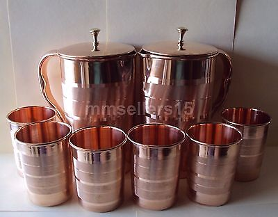 2 Pure Copper Handmade Jug Water Pitcher 1.5L & 6 Glasses Tumbler 300ml Storage