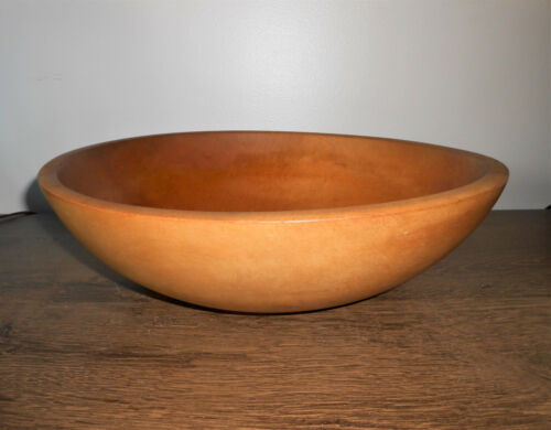"""Vintage Munising Wood Dough Bowl Large 12 x 13""""  Primitive Wooden Cottagecore"""