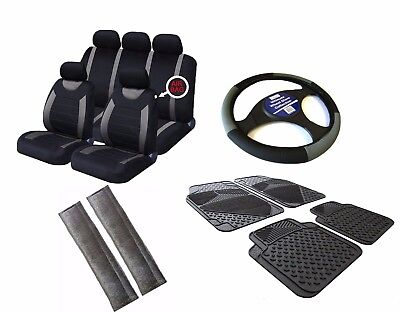 Grey / Black Universal Car Seat Covers Set + Matching Interior Accessories