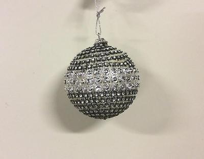 Pack 6 Diamond Ball Black/Silver 80mm Christmas Tree Ornaments CLEARANCE](Christmas Ornaments Clearance)
