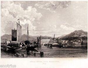 Isola-Bella-sul-Lago-Maggiore-Stresa-Acciaio-Stampa-Antica-Passepartout-1836