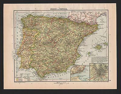 Landkarte map 1929: Spanien und Portugal. Maßstab: 1 : 4.500.000