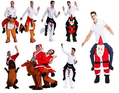 Unisex Costumes Shoulder Ride on Back Fancy Dress Xmas Adult Party carry Snowman - Party On Costumes