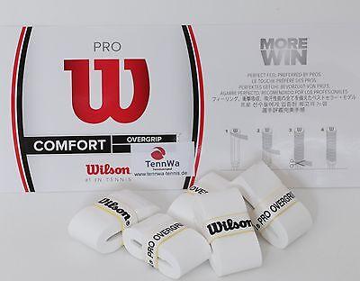 5er Pack Wilson Pro Overgrip weiß, das TOP-Griffband der Profis, Federer