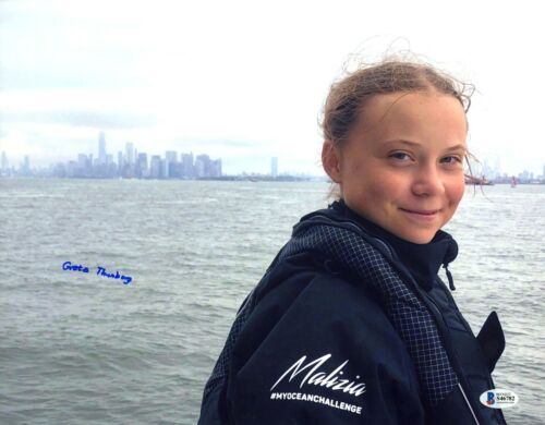 Greta Thunberg Signed 11x14 Photo Beckett COA 1/1 Auto Signature Activist BAS