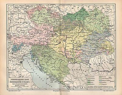 Österreich - Ungarn Ethnographische Karte 1896  Le Monnier und  neueren Quellen