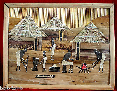 """ORIGINAL South Africa Tree Bark Wood Art Picture African Village 18"""" x 14"""""""