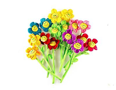 16PCS Bendable Stems Plush Daisy Flowers Smiley Happy Face 13 Inches -