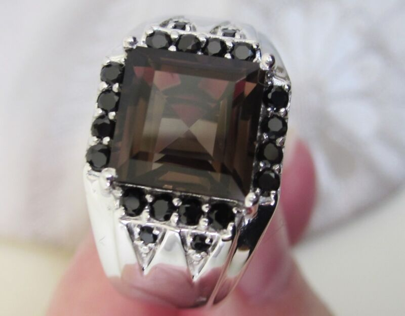 Men's Smoky Quartz & Black Spinel Ring, Sterling Silver, sz 8  -- 5.84ct, 8.4g