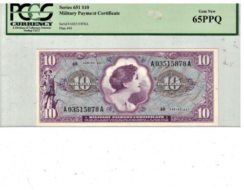 US MPC Series # 651 $10 Gem Uncirculated PCGS 65 PPQ PB2