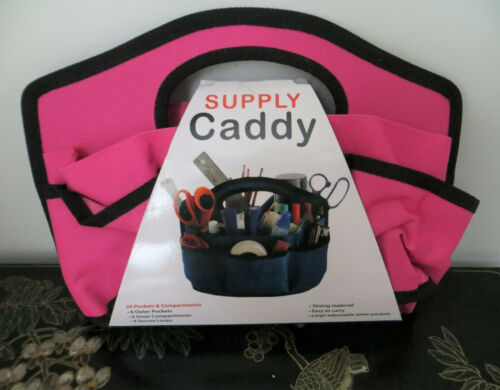 """PINK Supply Caddy 12"""" x 8.75"""" Canvas, 20 Pockets & Compartments Art Sewing Craft"""