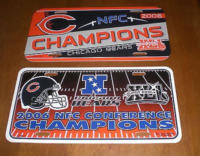 2 2006 CHICAGO BEARS NFC CHAMPIONS LICENSE PLATES - SUPER BOWL XLI - NEW