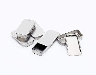Metal Slide Top Tin Container for lip balm, crafts, storage, survival (5 Pack)