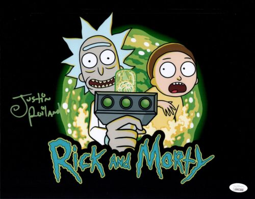 JUSTIN ROILAND Signed RICK & MORTY 11x14 Photo Autograph JSA COA WITNESSED