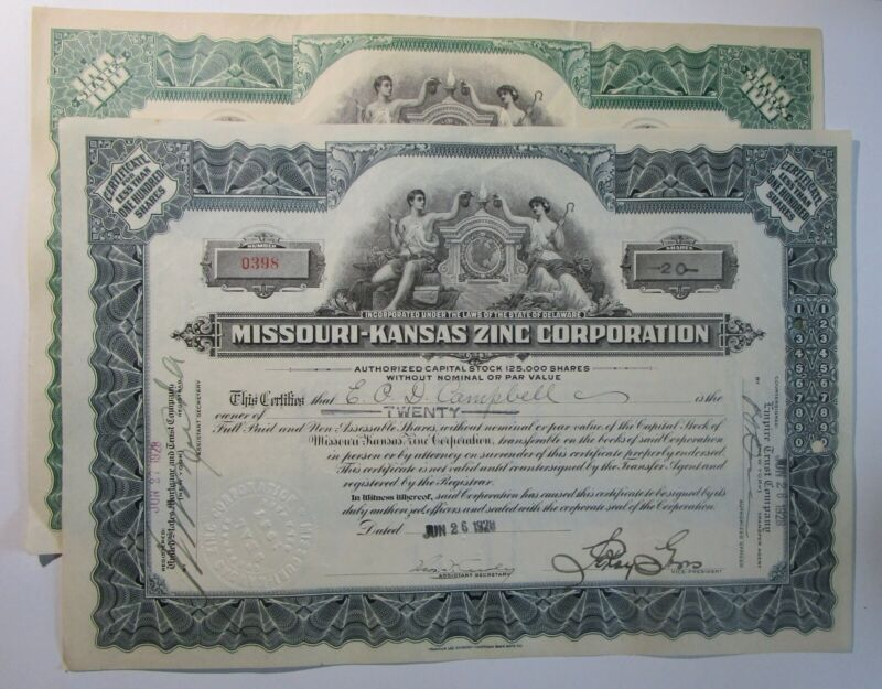 Missouri-Kansas Zinc Corp., Lot of two, late 1920s,issued, good condition