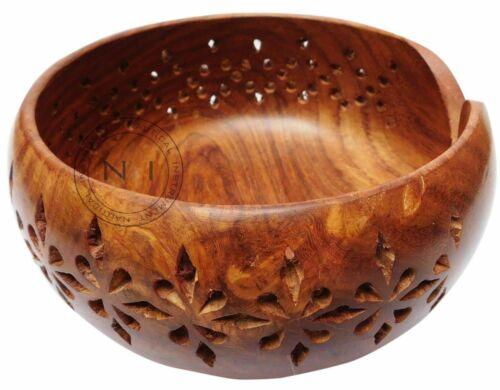 "Vintage Rosewood Handmade Wooden Yarn Bowl  Knitting Bowls Crochet 6""x 3"" Gift"