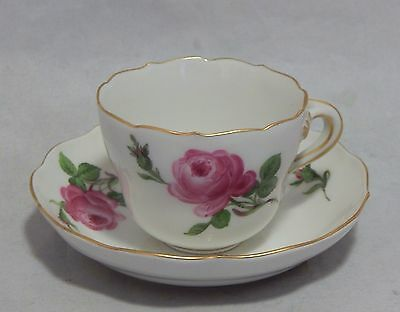 Authentic Meissen Germany Demitasse Pink Rose Cup and Saucer Set
