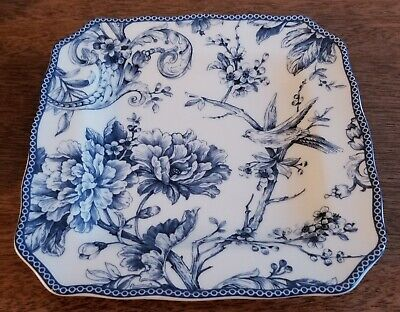 222 Fifth ADELAIDE-BLUE & WHITE Square Salad - White Square Plates