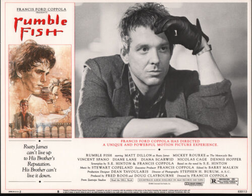 RUMBLE FISH original 1983 lobby card MICKEY ROURKE 11x14 movie poster
