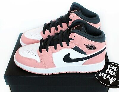 Nike Air Jordan 1 Retro Mid Quartz Pink Blush Pink Grey GS UK 3 4 5 6 7 US New