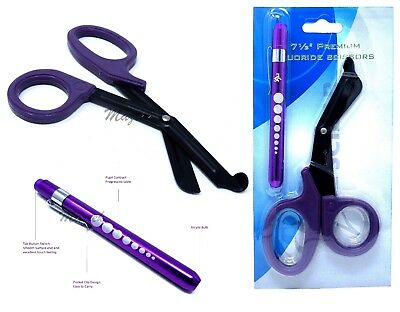 Purple Reusable Aluminum Pocket Penlightfluoride Coated Trauma Paramedic Shears