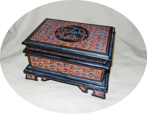 Antique Burmese Red Etched Lacquer ware Desk STORAGE box unique and rare