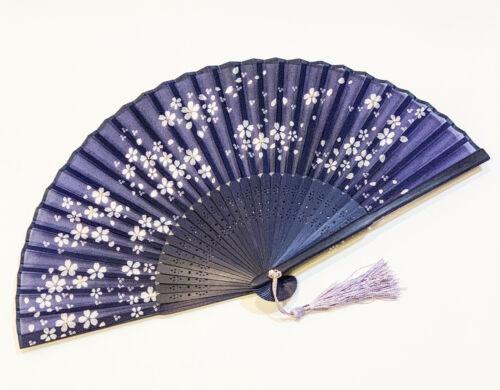 Cherry Blossom Design Japanese Silk Hand Fan Handheld Folding Fan Navy Blue Colo