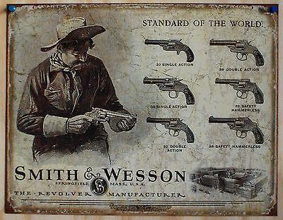 Vintage Replica Tin Metal Sign Smith & Wesson 32 38 44  Pistol Revolver s&w 1743