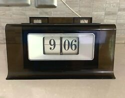Black Lucite Wall Electric Flip Clock Mid Century Modern~Retro~Tested