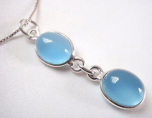 Chalcedony Double Oval Pendant 925 Sterling Silver Imported from India New