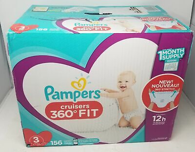 Diapers Size 3, Count 156-Pampers Cruisers 360 Fit Comfort Baby