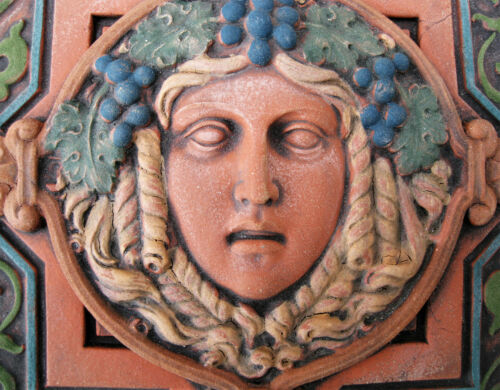 GODDESS  GARDEN GIRL GRAPES   BACCHANTE  ARTS & CRAFTS  GOTHIC   ELLISON TILE