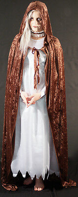 ic-Cosplay-STEAMPUNK-Larp-FULL LENGTH BROWN HOODED CLOAK (Halloween-pagan)