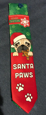 PUG Dog PUPPY Santa PAWS Green RED NECK TIE Christmas HOLIDAY Traditions -