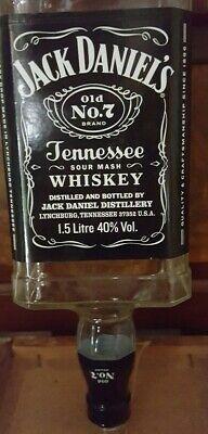 Empty jack daniels bottle. Upside Down. 1.5 litre optic bottle. No cap.