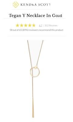 Ladies Gift Kendra Scott Tegan Beautiful Gold Y Necklace In Gift Box RRP £90