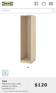 2 x Ikea PAX single wardrobe frame