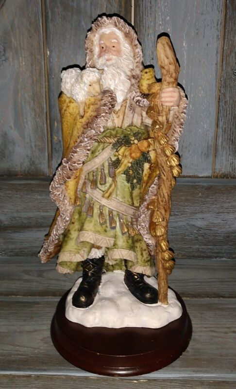 Vintage Father Christmas Santa Figure Wood Base a must have for collection