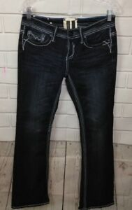 Trademark H Womens Jeans Iconic Slim Boot Thick Stitch Embroidred Bling 7/8