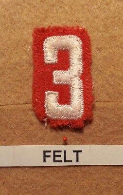 Felt Number - BSA RED FELT TROOP UNIT NUMBER 3 - (FAIR CONDITION) GAUZE BACK 1927~52  FB008