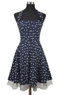 Rockabilly 50s NAUTICAL ANCHOR Kleid Petticoat Anker Maritim d-blau S/M 36 Anker Kleid