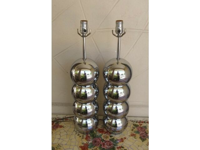 Pair George Kovacs Stacked Ball Chrome Table Lamps Mid Century