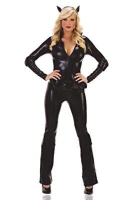 NEW! CAT BURGLAR L Sexy Women's Starline Black Catwoman Bodysuit Costume T1054 - Black Catwoman Bodysuit